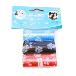 Хигиенни торбички едноцветни декор Лапички 3 ролки в плик/12 плика в стек/